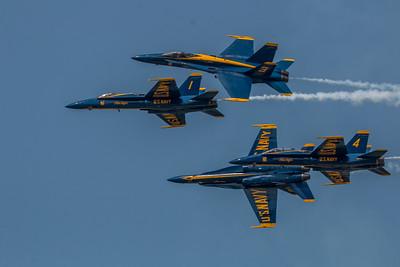 Blue Angels starting a multi-orientation split.  F/A-18 Hornet