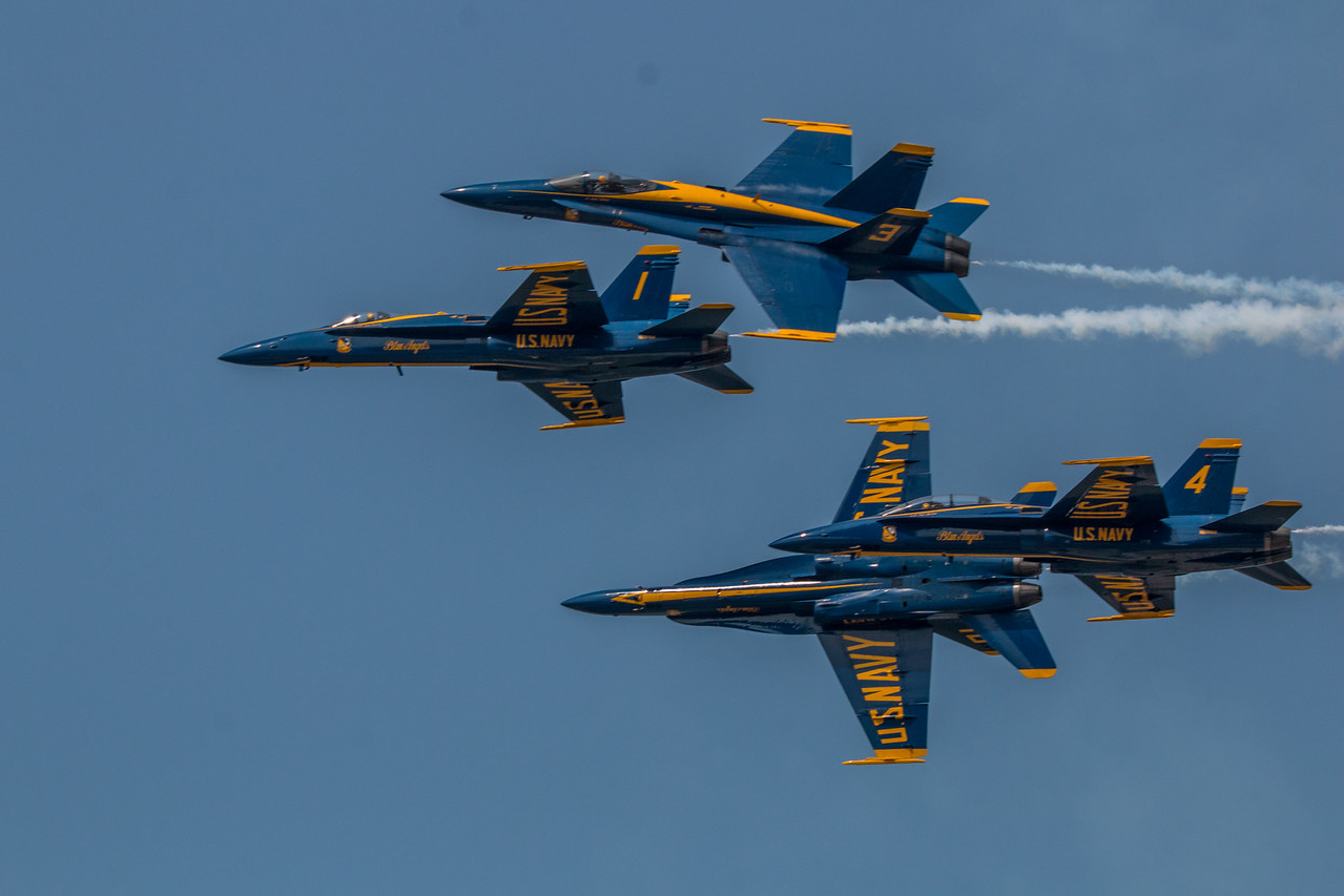Blue Angels starting a multi-orientation split.  F/A-18 Hornet