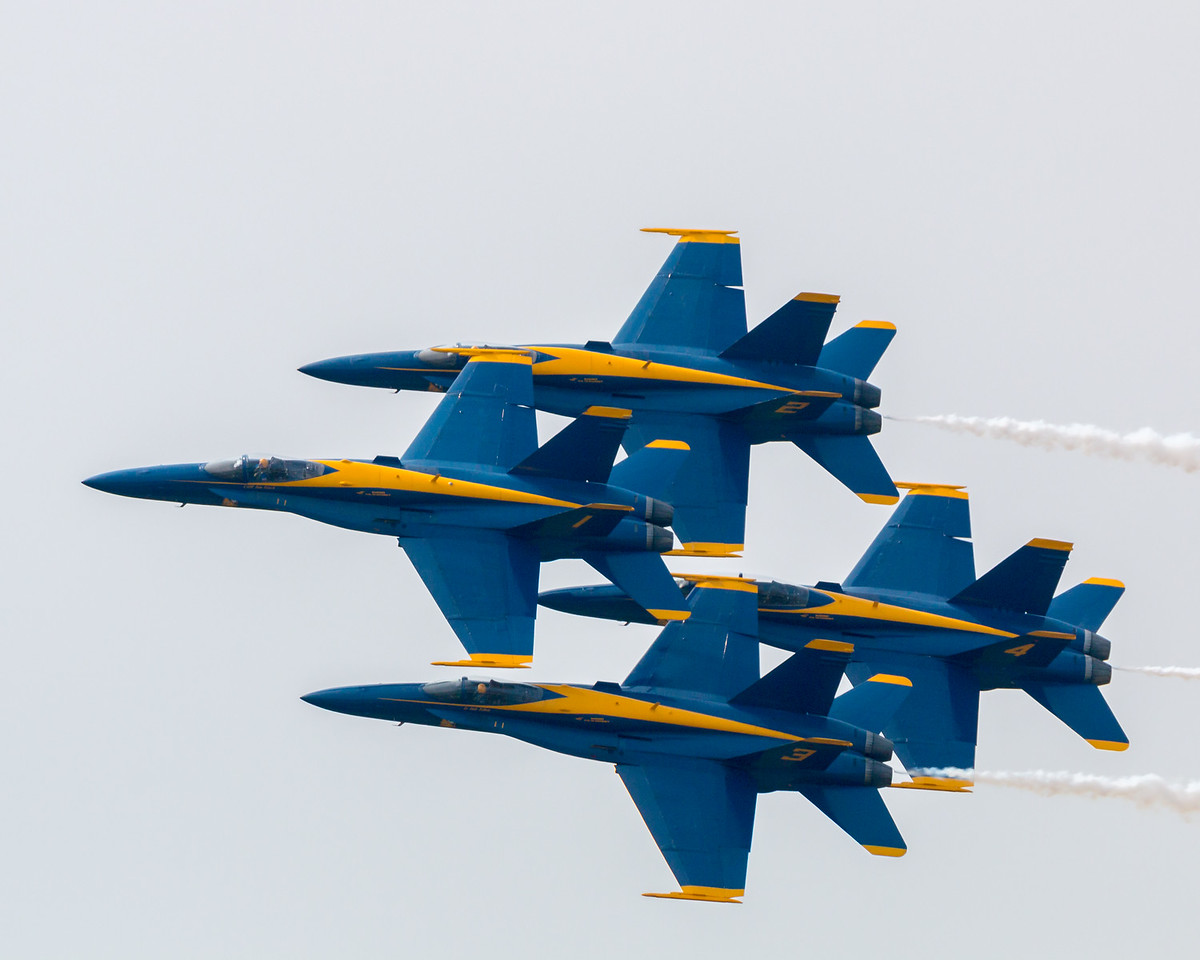 Blue Angels classic diamond formation; F/A-18 Hornet.