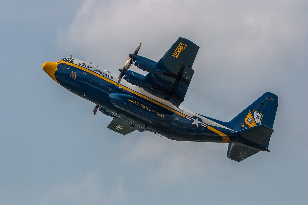"""The Blue Angels' C-130 """"Fat Albert"""" on a steep take off."""
