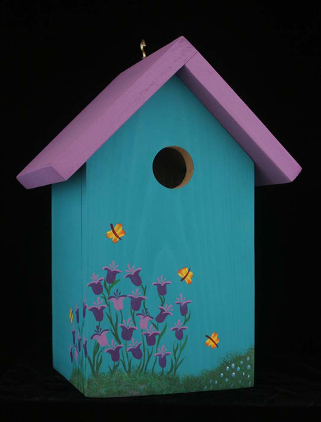 This birdhouse is pefect for a variety of small birds.  Hang it in a tree or attach it to a fence or wall using the hole provided in back.  The floor is removable for cleaning.