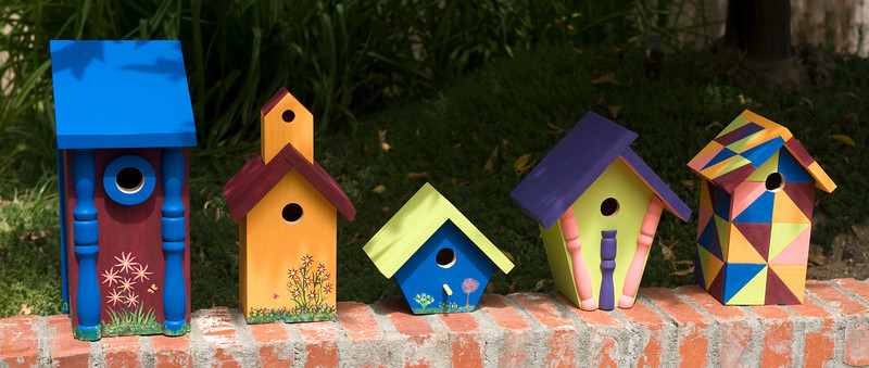 These five birdhouses were made for San Diego Botanic Garden and installed in the Hamilton Childrens Garden.  The colors are coordinated to blend with the plants and signage in the garden.  Stop by the Garden and see these beauties.