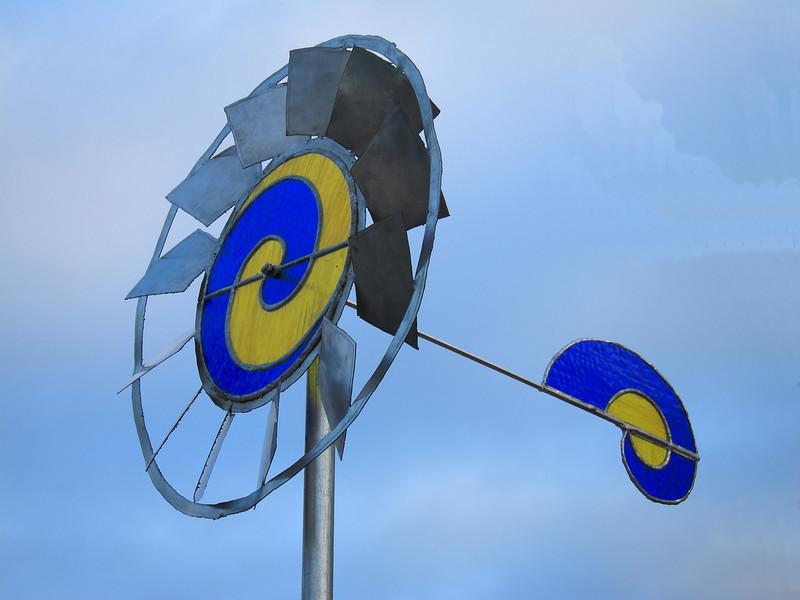 Blue and Yellow wind vane.