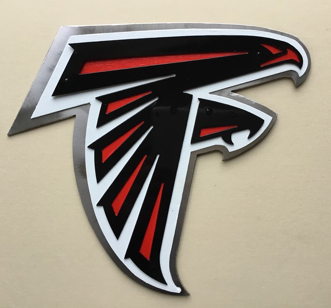 Falcons logo, stainless and painted steel