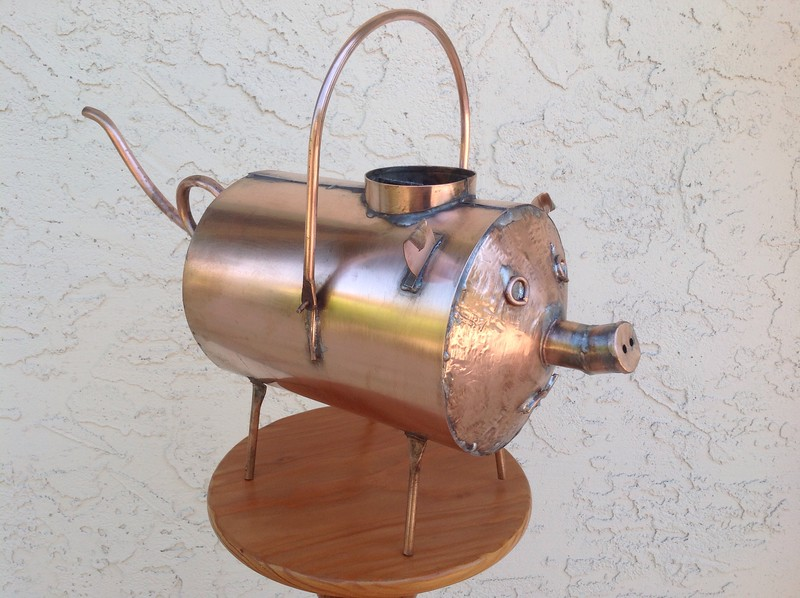 Copper piglet watering can