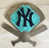 Yankees logo,  stainless steel, copper with patina, painted steel