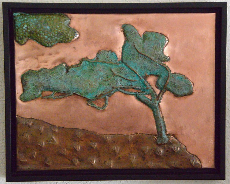 Torrey pine trees are indiginous to our area and inspired this repousse which has two patinas.