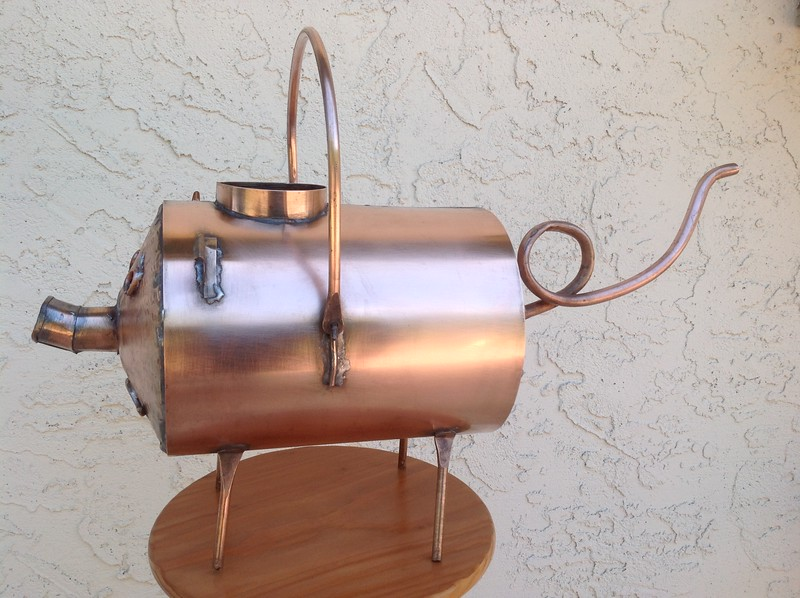 Piggy watering can, copper