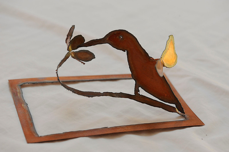 """""""Hummingbird""""  is one of my sculpture cards.  They are sheet copper cut to shape and ready for you to unfold.  There is no wrong way."""