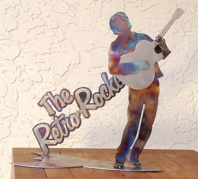 Another music legend series, my friend Don who leads his band The Retro Rocketts.  Heat colored steel.
