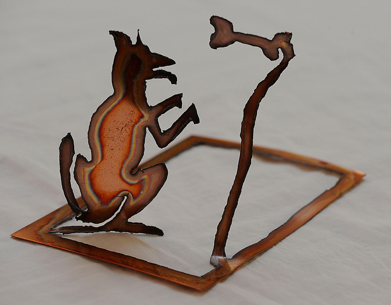 """""""Say Please""""  is one of my sculpture cards.  They are sheet copper cut to shape and ready for you to unfold.  There is no wrong way."""