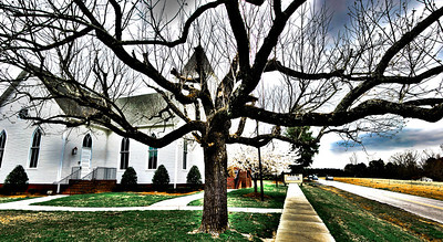 Baptist Church on Green Level Church Road.  I added a little HDR toning to bring out some pop out of this cool tree.