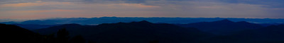 This is a panno off the porch of the Pisgah Inn just before sunrise. Took this one using the 70-200 f2.8 so it represents only about 1/2 the veiw as the first one but took almost 10 pictures to stitch together.  Again, look at it on the 3X setting.