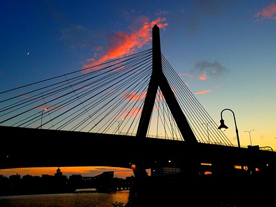 The Leonard P. Zakim Bunker Hill Memorial Bridge in Boston at sunset