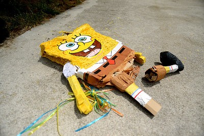 The Sponge Bob pinata had a tough day after Ethan's 9th birthday