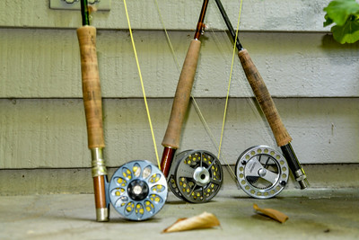 3 fly rods set up means there are 3 happy guys that got to go fly fishing.