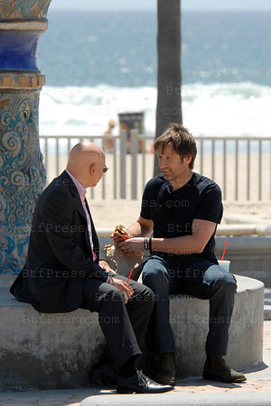 David Duchovny and Evan Handler in thr set of Californication in Venice ,California.