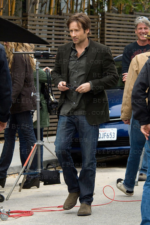 David Duchovny,Natascha McElhone and Evan Handler during the set of Californication in Venice,California.