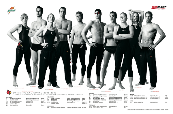 2008-09 LOUISVILLE SWIMMING AND DIVING POSTER | design and photography by David Klotz