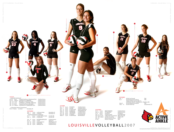 2007 - LOUISVILLE VOLLEYBALL SCHEDULE POSTER   design and photography by David Klotz