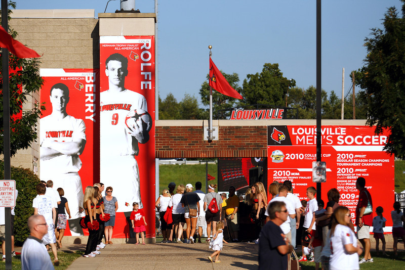 Louisville Men's Soccer stadium entrance graphics