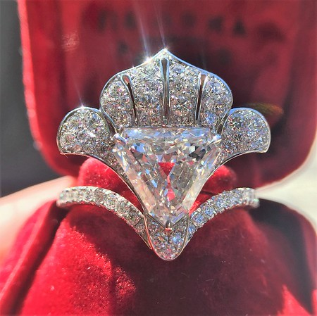 "1.65ct Antique Shield Shape Diamond ""Lotus"" Ring by David Michael Jewels"