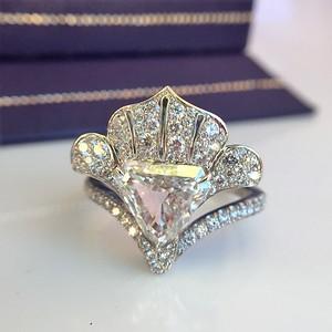 "1.65ct Antique Shield Shape Diamond ""Lotus"" Ring by David Michael Jewels"