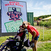 Ben and Joelle Noble, of Marlborough, await the arrival of David Ortiz for the opening of the 'Big Papi Maze' at Davis Mega Maze on Tuesday morning. SENTINEL & ENTERPRISE / Ashley Green