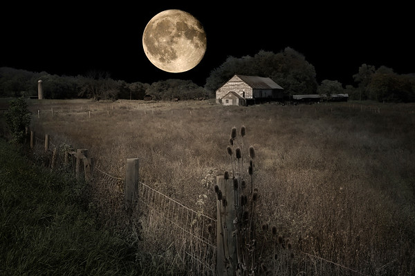 Farm in Moonlight - Hedgesville, West Virginia