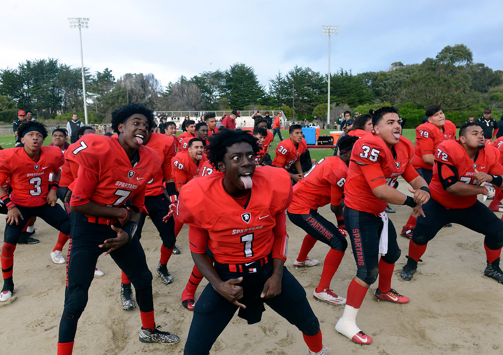 . Seaside players perform the haka after their win against Monterey during the Battle of the Bay football game in Seaside on Saturday November 5, 2016. (David Royal - Monterey Herald)