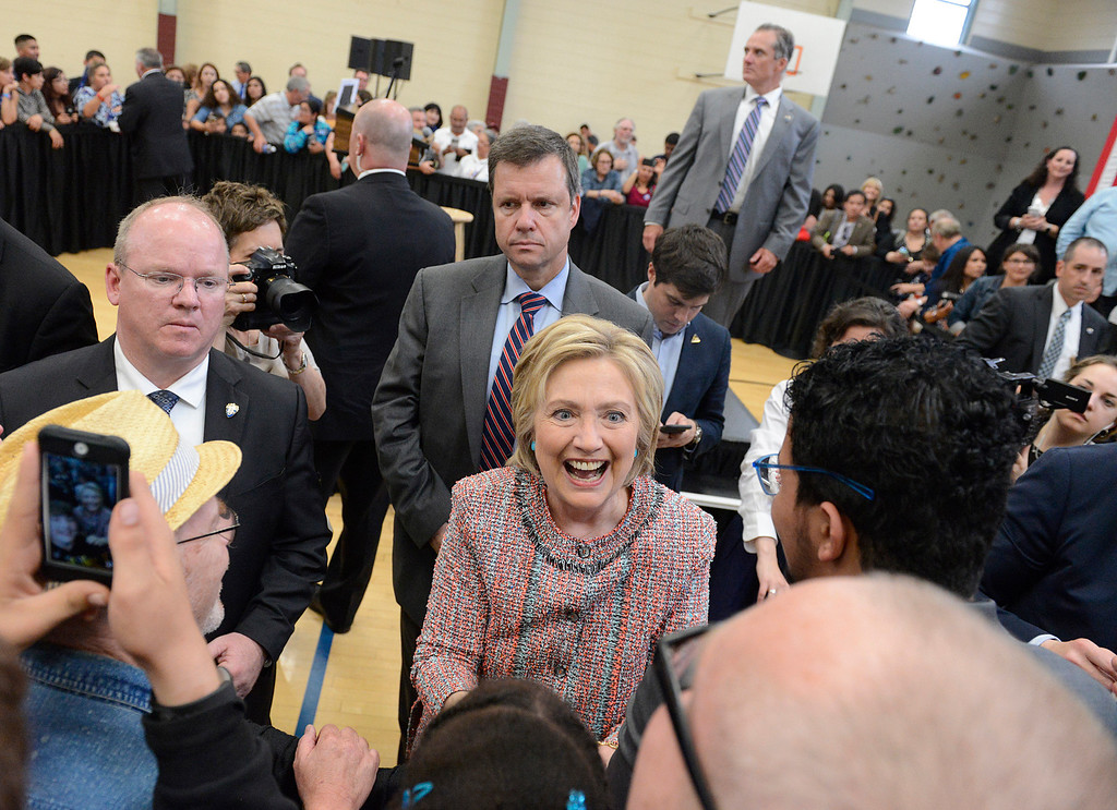 . Hillary Clinton greets supporters during her visit to Hartnell College in Salinas on Wednesday May 25, 2016.  (David Royal - Monterey Herald)