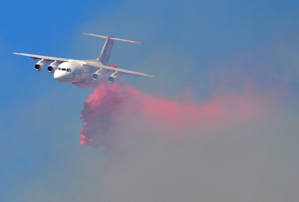 . A very large air tanker (V-LAT) drops a load of fire retardant on the north flank of the Soberanes Fire in Soberanes Canyon in Garapata State Park on the northern Big Sur Coast on Friday July 22, 2016. (David Royal - Monterey Herald)
