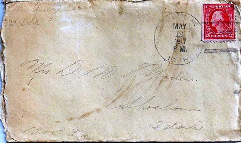 Letter Archive 1917 (5) - Yaden, Byron William - Age 20 - May 12, 1917 - Envelope Front - Avery, ID - Letters from a Doughboy WWI Series - Original Documents