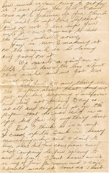 Letter Archive 1917 (8) - Yaden, William David - Age 17 - August 28, 1917 - Page 2 of 3 - Sedro-Woolley, WA - Letters from a Doughboy WWI Series - Original Documents