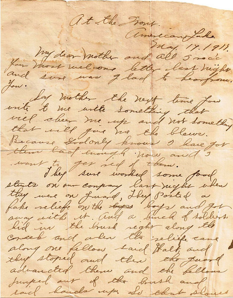 Letter Archive 1917 (5) - Yaden, William David - Age 17 - May 17, 1917 - Page 1 of 2 - American Lake Camp Lewis, WA - Letters from a Doughboy WWI Series - Original Documents