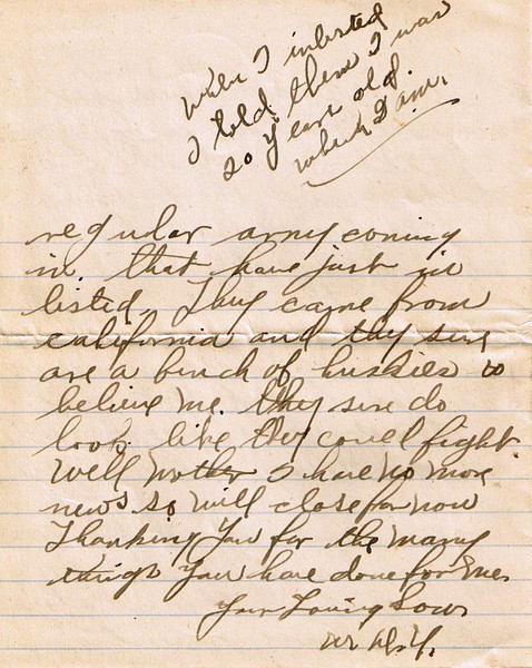 Letter Archive 1917 (6) - Yaden, William David - Age 17 - June 8, 1917 - Page 4 of 4 - American Lake Camp Lewis, WA - Letters from a Doughboy WWI Series - Original Documents