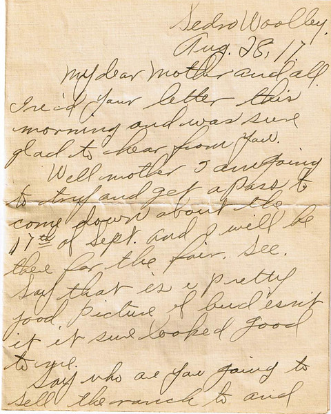 Letter Archive 1917 (8) - Yaden, William David - Age 17 - August 28, 1917 - Page 1 of 3 - Sedro-Woolley, WA - Letters from a Doughboy WWI Series - Original Documents