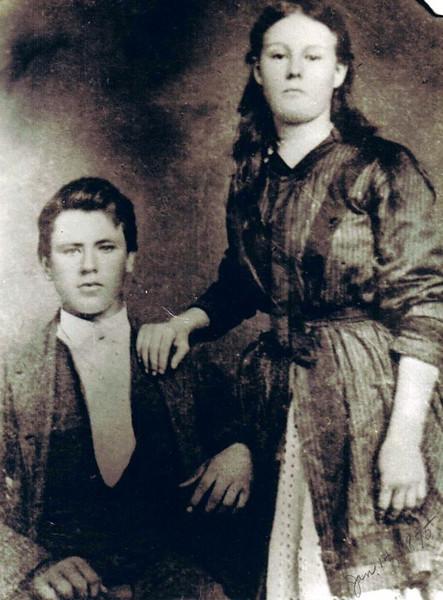 David William Yaden (Age 19) & Hilie Chestnut (Age 16) - January 14, 1875 - Wedding Photo - London, KY