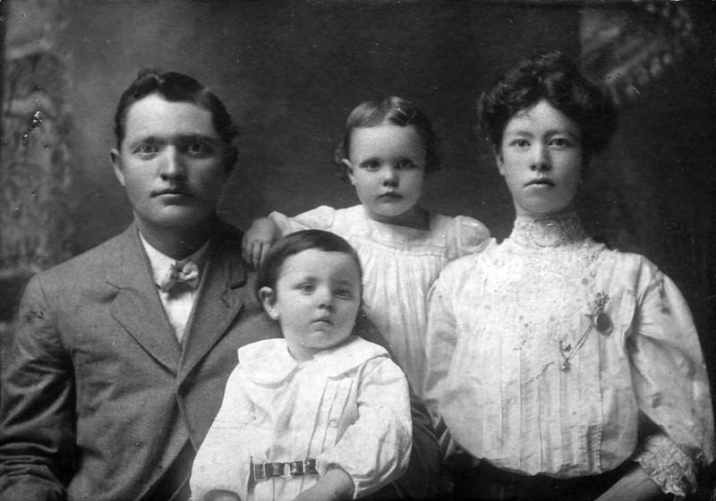 The Vredenburgh Family - 1907 - Shoshone, ID<br /> <br /> L to R:<br /> <br /> William David Vredenburgh (1872-1957) - Age 35 - Nickname:  Bill<br /> Darrell Vredenburgh (1905-1910) - Age 2 - Died on June 29, 1910<br /> Merlyn Cassie Vredenburgh (1903-1994) - Age 3 <br /> Janice (Yaden) Vredenburgh (1884-1981) - Age 23 - Nickname:  Jane