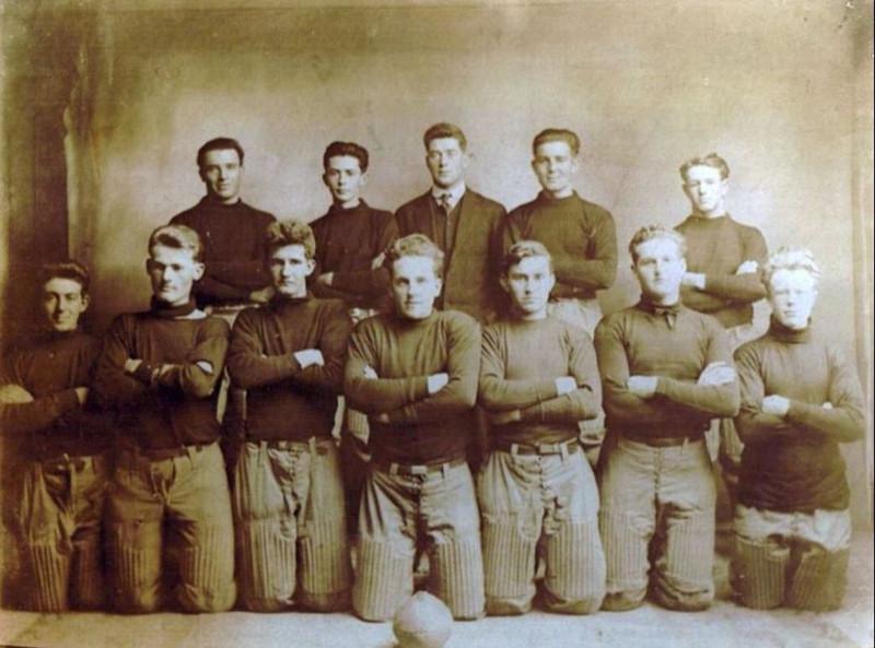 """1914 - """"Bud"""" & """"Pug"""" Yaden - Shoshone High School Football Team - Shoshone, ID<br /> <br /> Top row, far right:  Byron William Yaden - Age 17 (1897-1975) - Nickname:  Bud<br /> Bottom row, far right:  William David Yaden - Age 15 (1899-1918) - Nickname:  Pug"""