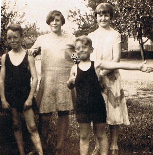 Some grandkids of David & Hilie Yaden - 1926 - During a family gathering at the South Tenth Street home of David & Hilie Yaden (across from the Yakima fairgrounds) - Yakima, WA<br /> <br /> L to R:<br /> <br /> Eldon Vredenburgh - Age 11 - Son of William Vredenburgh & Janice (Jane) Yaden<br /> Roberta Ferris - Age 11 - Daughter of Charles Ferris & Minnie (Minn) Yaden<br /> Boyd Ferris - Age 7 - Son of Charles Ferris & Minnie (Minn) Yaden<br /> Mary Bolman - Age 13 - Daughter of William Bolman & Elizabeth (Betty) Yaden