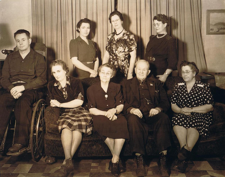Part of the Yaden Clan - 1940 - Yakima, WA<br /> <br /> [Left to Right]<br /> <br /> Back Row:<br /> <br /> Byron William Yaden - Age 43 (1897-1975) - Nickname:  Bud<br /> Merlyn (Vredenburgh) Davis - Age 37 (1903-1994) - Aunt Jane's daughter<br /> Janice (Yaden) Vredenburgh - Age 56 (1884-1981) - Nickname:  Jane<br /> Hilie Della (Yaden) Sorsoleil - Age 53 (1886-1976) - Nickname:  Dell<br /> <br /> Sitting on sofa:<br /> <br /> Edna (Maxwell) Yaden - Age 45 (1894-1955) - Wife of Bud Yaden<br /> Hilie (Chestnut) Yaden - Age 81 (1858-1948)<br /> David William Yaden - Age 85 (1855-1949)<br /> Elizabeth (Yaden) Bolman - Age 63 (1877-1956) - Nickname:  Betty