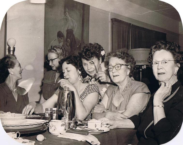 Some Yaden Girls - 1954 - Yakima, WA<br /> <br /> L to R:<br /> <br /> Minnie Melvina (Yaden) Ferris - Age 66 (1888-1979) - Nickname: Minn<br /> Edna (Maxwell) Yaden - Age 60 (1894-1955) - Wife of Bud Yaden<br /> Martha (Bolman) Nevitt - Age 49 (1905-1982) - Daughter of Betty (Yaden) Bolman<br /> Ella Pearl (Yaden) Barteaux - Age 60 (1894-1965) - Nickname: Paula<br /> Lily Gertrude (Yaden) Fulk - Age 64 (1890-1969) - Nickname: Gert<br /> Janice (Yaden) Vredenburgh - Age 70 (1884-1981) - Nickname: Jane