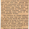 1940 (1st qtr.) - Article describing Grandpa Bud's response to the previous article requesting contact with the Yaden family by Ollie Kuehl of Neenah, WI - Union-Bulletin Newspaper - Walla Walla, WA