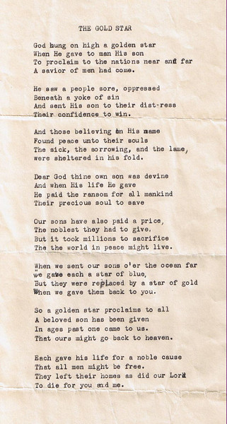 William David Yaden - 1919 (May) - Age 19 - Poem read by sister Della at David's funeral service - Yakima Armory - Yakima, WA - (W. David Yaden was born on September 2, 1899 and was killed in action in the Argonne Forest of France on October 5, 1918)