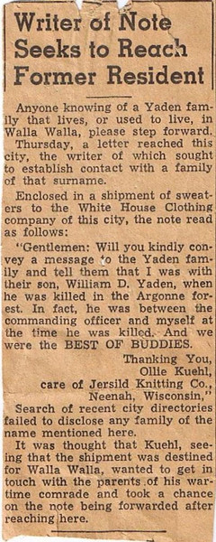 1940 (1st qtr.) - Article requesting contact by Ollie Kuehl of Neenah, WI with the Yaden family about the death of their son William D. Yaden in WWI - Union-Bulletin Newspaper - Walla Walla, WA