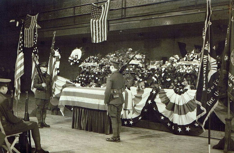 William David Yaden - 1919 (May) - Age 19 - United States Army  WWI - Casket on display at Yakima Armory - Yakima, WA - (W. David Yaden was born on September 2, 1899 and was killed in action in the Argonne Forest of France on October 5, 1918)