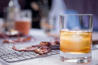 David Mimeles, of David Founded, serving his hand cured bacon at Hudson Valley Distillery in a special pairing of bhand-crafted bacon and specialy created coctails.