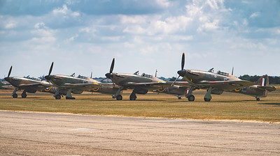 4 Hawker Hurricanes in the flight line at Flying Legends Airshow 2018 By David Stoddart