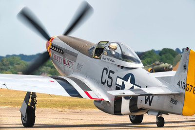North American P51D Mustang Trusty Rusty PH-JAT Taxiing out at Flying Legends Airshow 2018 By David Stoddart